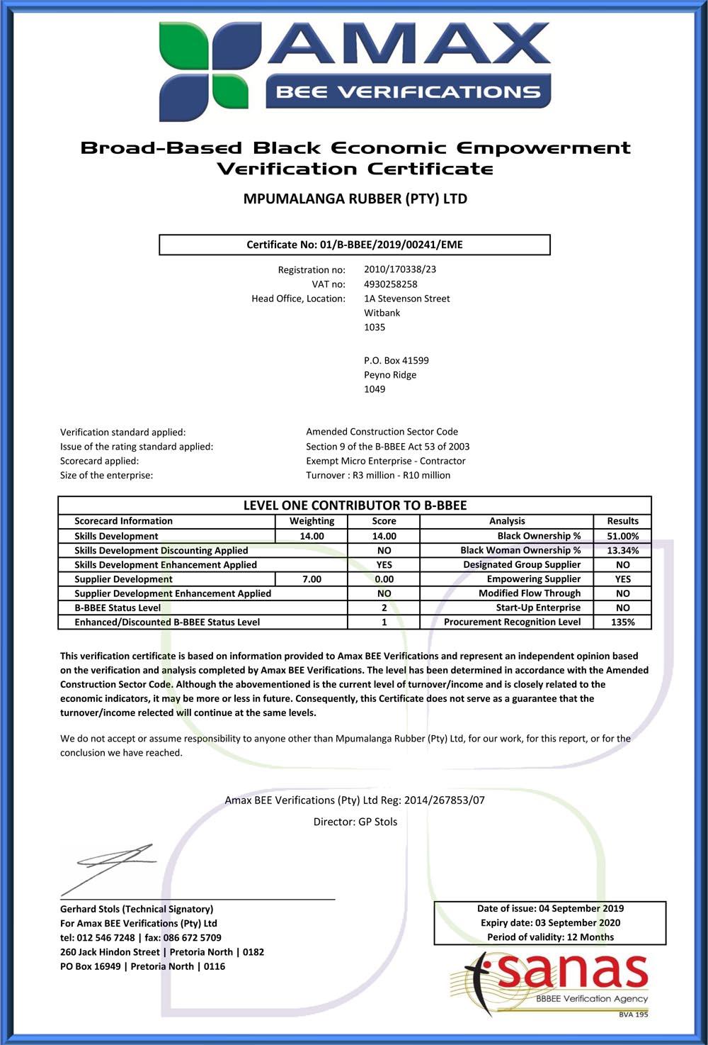 Mpumalanga Rubber (PTY) Ltd - B-BBEE Certificate-100