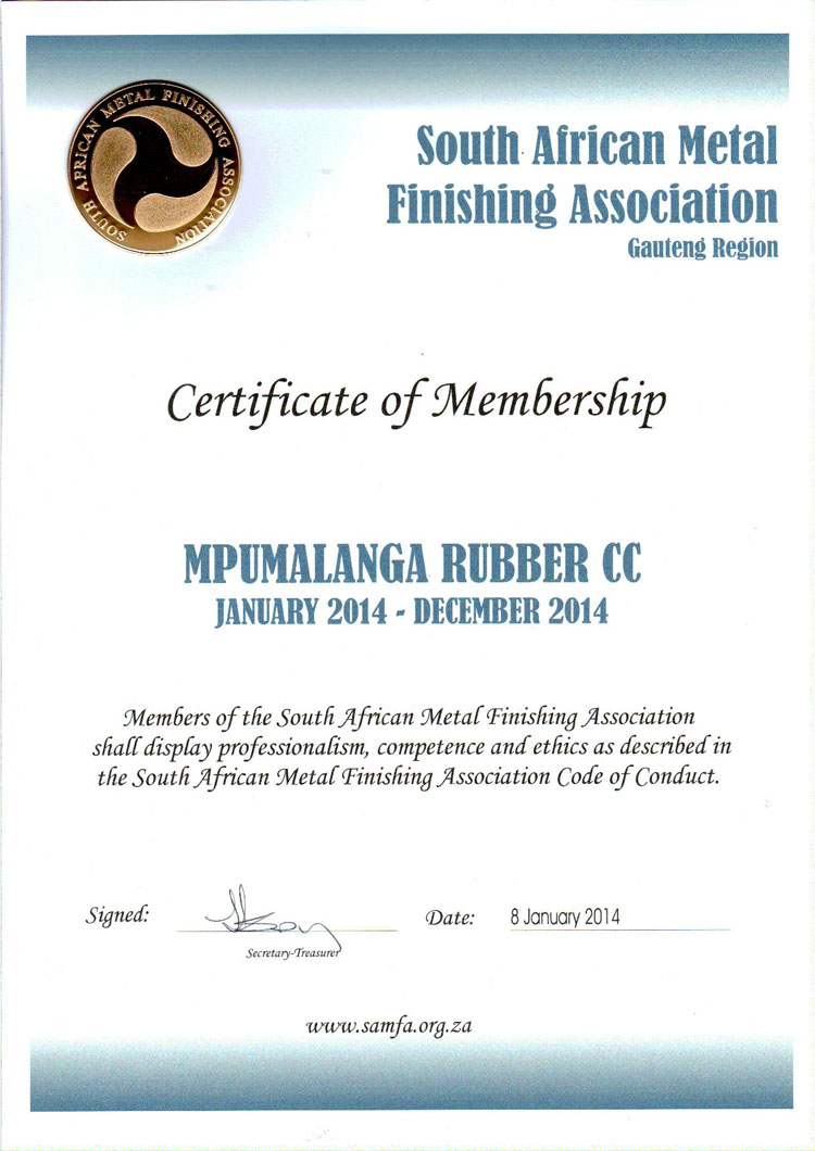 Certification Sa Metal Finishing Association