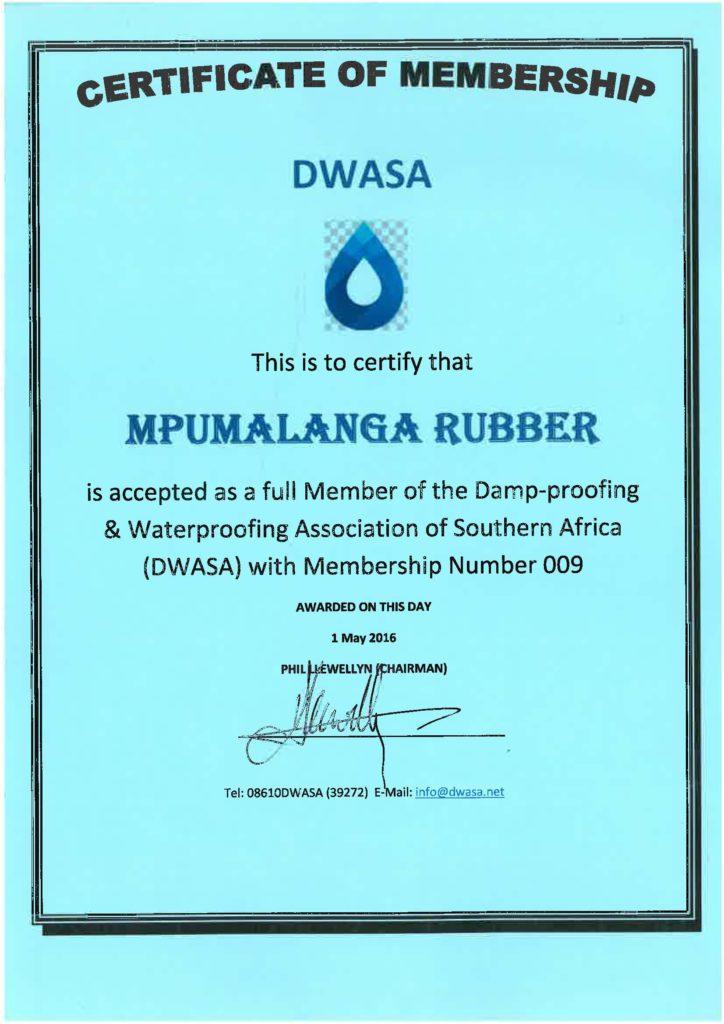 Mpumalanga Rubber - DWASA