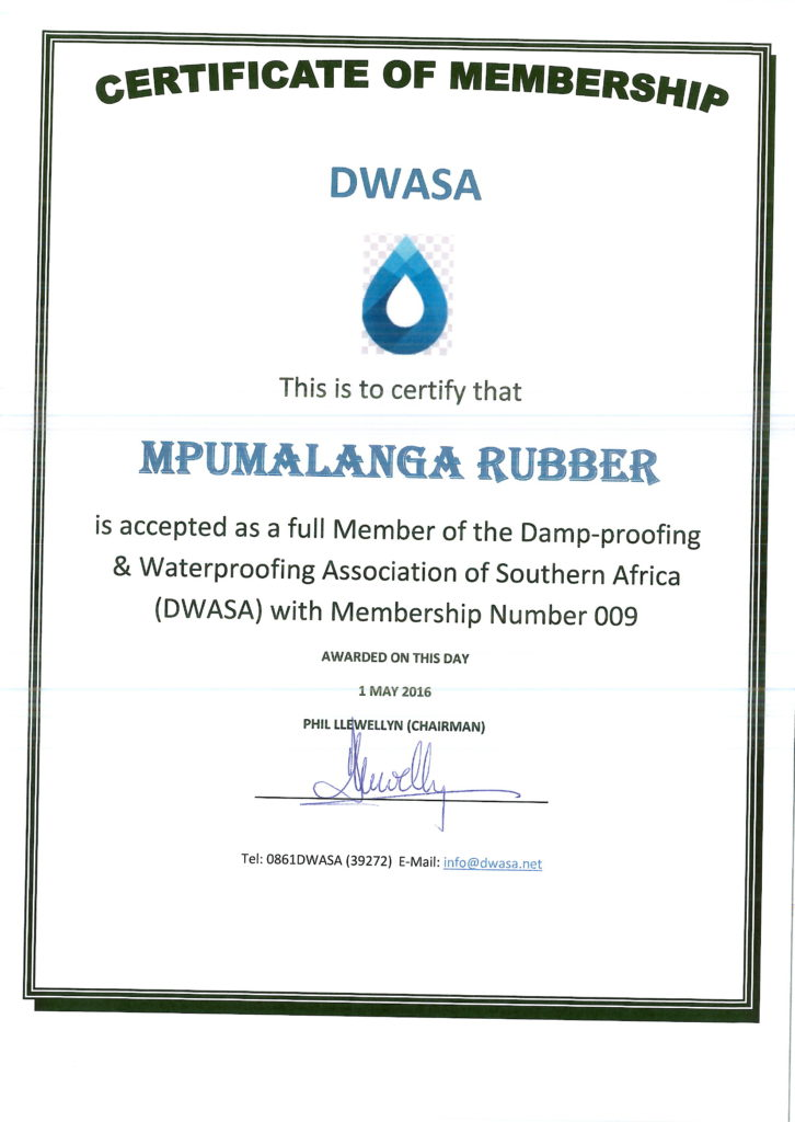 Mpumalanga Rubber - New DWASA