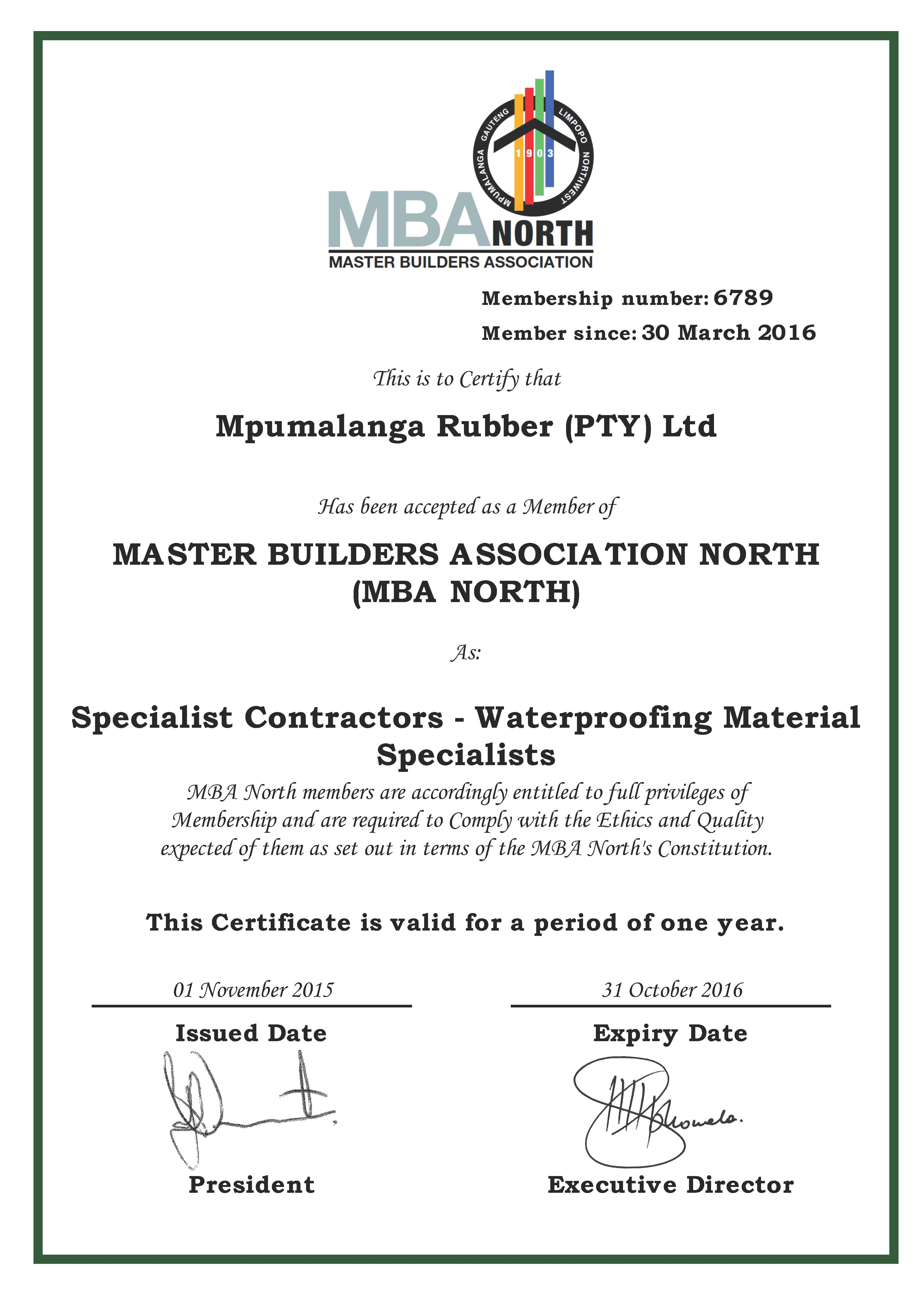 Master Builders Association North Mba North