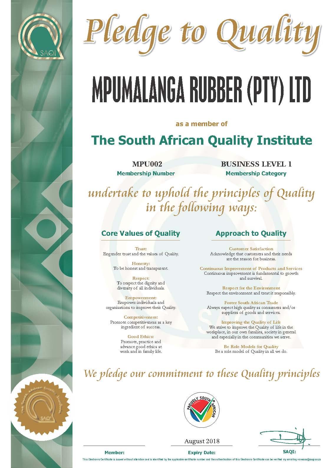 Mpumalanga Rubber - SAQI Member Certificate