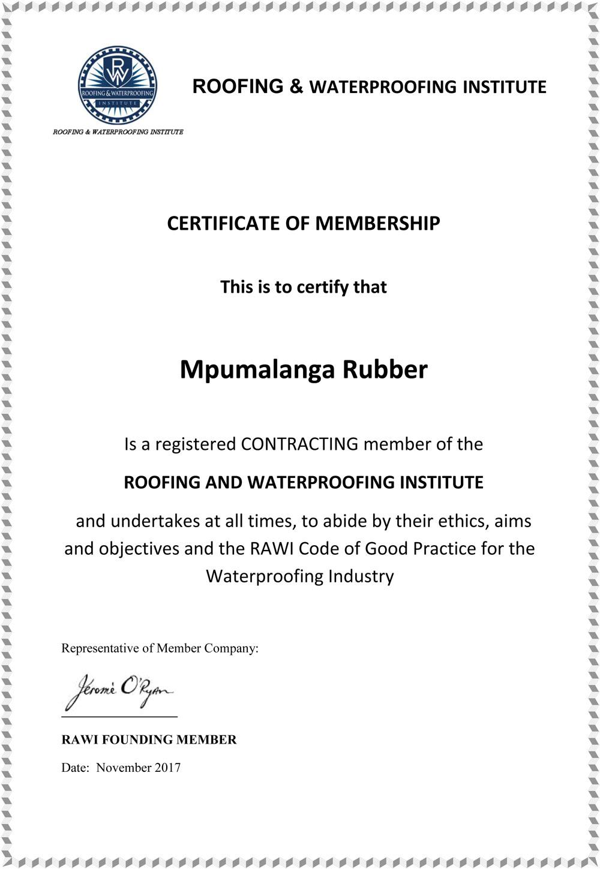 Mpumalanga Rubber - RAWI Membership Certificate-1000